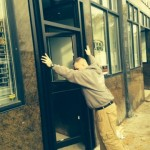 DURING - Commercial storefront aluminum door and frame  - October 21,2014
